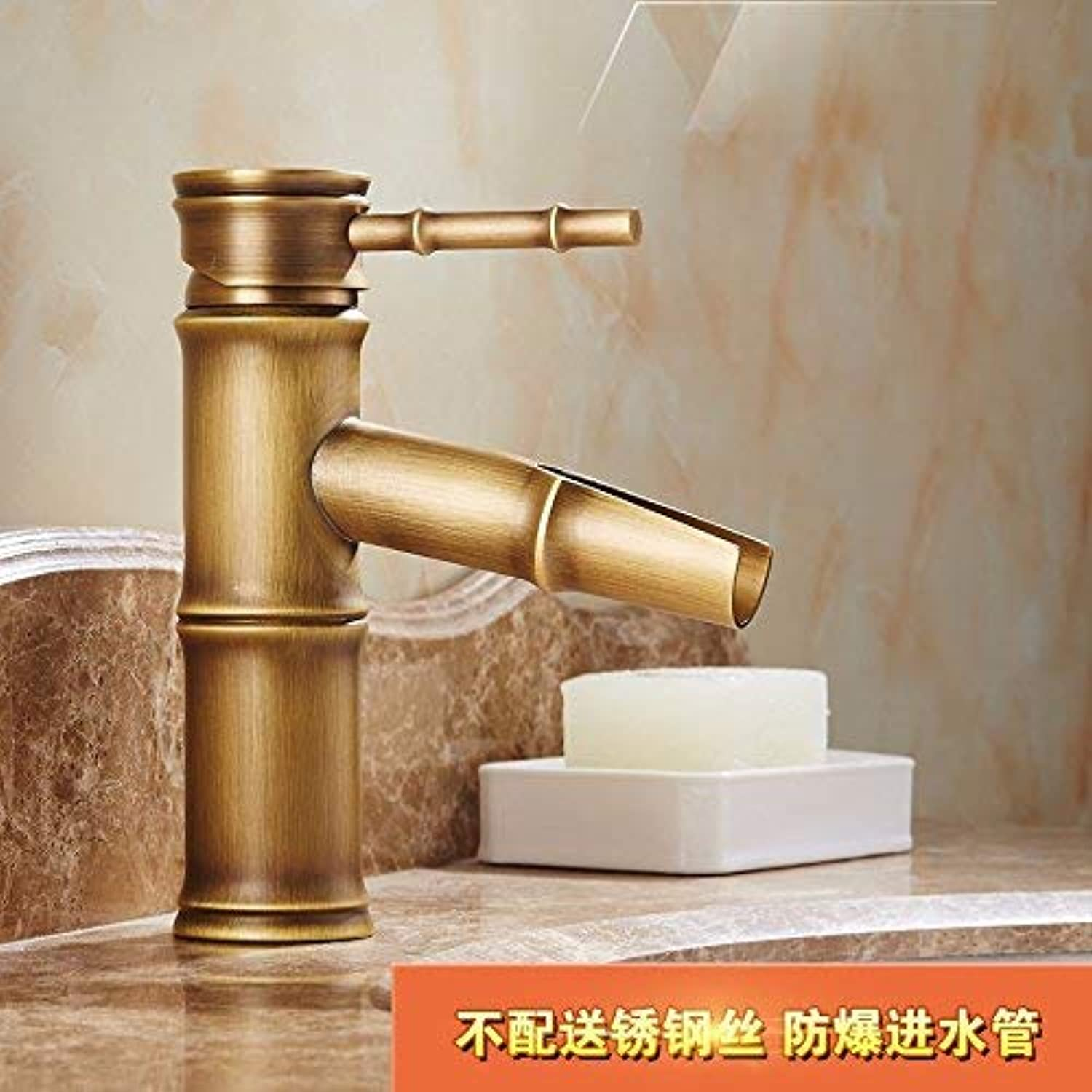 Oudan Basin Mixer Tap Bathroom Sink Faucet Flagship Store antique faucet full copper European country retro hot and cold single hole basin washbasin bamboo Faucet