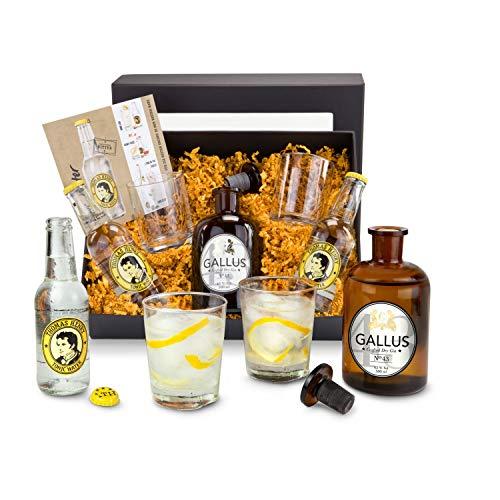 Römer Präsente Gin-Tonic-Geschenkset: 8-teilig; 1 originelle Apothekerflasche gefüllt mit Gin Gallus 43 (0,5 L) + 1 Glaskorken + 2 Thomas Henry Tonic Water + 2 Gläser + 1 Rezept-Flyer + Geschenkbox