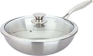 Kitchen Cookware Wok, Stainless Steel Wok 32cm / Non-Stick with Glass Lid - Suitable for All Hobs Including Induction - St...