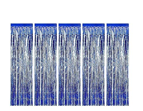 MerryNine 5 Pack Metallic Foil Fringe Curtain, 3 ft x 10 ft DIY Tassel Garland Banner for Wedding, Baby Shower, Event & Party Supplies Decoration (Blue)