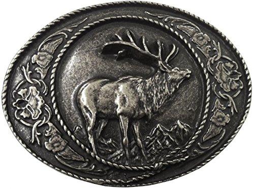 Brazil Lederwaren Gürtelschnalle Hirsch mit Rahmen 4,0 cm | Buckle Wechselschließe Gürtelschließe 40mm Massiv | für Jagd-Outfit