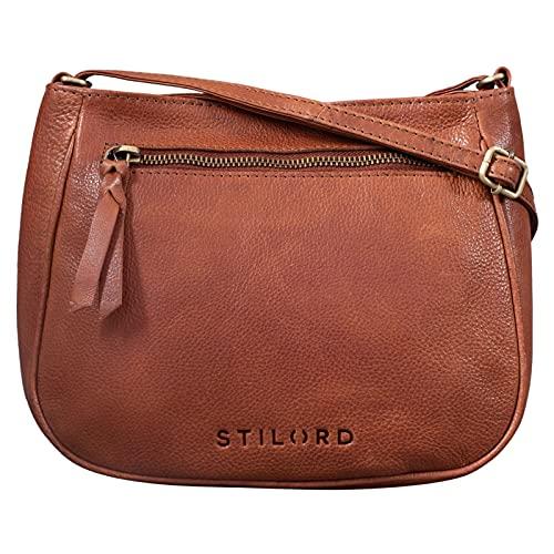 STILORD 'Samira' Handtasche Leder Frauen zum Umhängen Vintage Umhängetasche für Damen-Tasche Abendtasche Elegante Echtleder Tasche, Farbe:Texas - braun