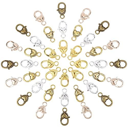 SUNNYCLUE 1 caja de 40 piezas de 5 colores de aleación de corazón de langosta cierres de garra de langosta con cordón de extremo de cordón, hebilla para hacer joyas, collares y joyas
