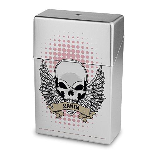 Zigarettenbox mit Namen Karin - Personalisierte Hülle mit Design Totenkopf - Zigarettenetui, Zigarettenschachtel, Kunststoffbox