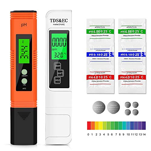 Etercycle pH Messgerät, TDS Messgerät, pH TDS EC und Temperatur 4 in 1 Set, Wasserqualität Tester mit LCD Anzeige ATC PH Wert Messgerät für Trinkwasser, Schwimmbad, Aquarium, Pools und Labor