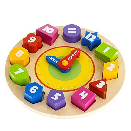 Tooky Toy Orologio Puzzle Giocattolo Educativo In Legno Adatto A Partire Dai 3 Anni