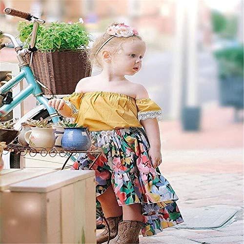 BABIFIS Europese Amerikaanse Meisje Suit, Geel Een woord Schouder Kant Blouse Met Bloemenprint Halflange Vissenstaart Rok, Tweedelige pak