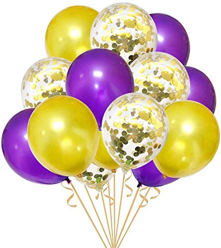 30PCS Purple and Gold Confetti Balloons Party Decorations for Birthday Retirement Birdal Shower Congrats Graduation Supplies Wedding Anniversary Suplies