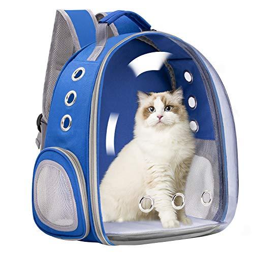 Vailge Zaino per cani e gatti con capsula spaziale, portatile, borsa per il trasporto per animali domestici, viaggi, con capsula traspirante per gatti di piccola taglia (blu)