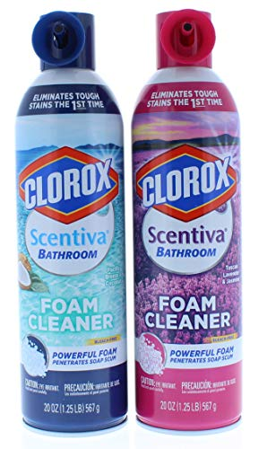 Clorox Scentiva Lavender and Pacific Breeze Bathroom Aerosol Foaming Cleaner 20oz (As Pictured)