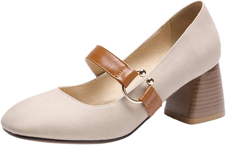 Kaizi Karzi Women Simple Mary Jane shoes Block Heels Dress shoes
