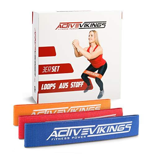 ActiveVikings® Fitnessbänder aus Stoff - Ideal für Muskelaufbau Gymnastik und Crossfit - Fitnessband Widerstandsbänder Sportband (A - 3er Set (Orange Grün Blau))