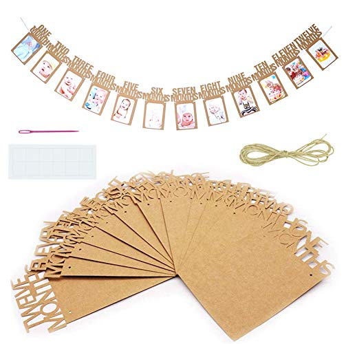 TONIFUL 1st Birthday Photo Banner, First Birthday Baby Photo Banner, Monthly Milestone Photograph Bunting Garland, 1 to 12 Months Photo Prop Party Celebration Decor (Brown, Kraft Paper)