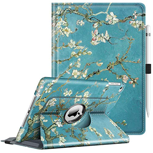 FINTIE Rotating Case for iPad 9.7 2018 2017(6th Gen, 5th Gen)/iPad Air 2/iPad Air - 360 Degree Swivel Stand Smart Protective Cover, with Auto Sleep Wake Feature, Blossom