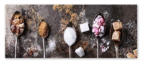 STYLER Küchenbild Zucker 30 x 80 x 0,4 cm I Glasbild mit Zuckerwürfeln I Panorama Wandbild mit weißen Zucker braunem Zucker I Wanddeko Home Kunstdruck I Deko Küche Vintage