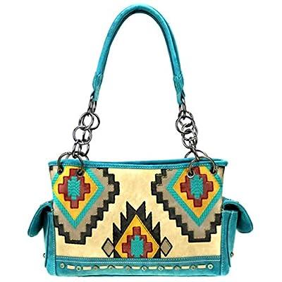 Montana West Aztec Embroidered Satchel Purse For Women Canvas Vegan Leather Shoulder Bag Western Cowgirl Handbag
