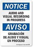 SIGNS Aviso – Grabación de audio y visual en curso etiqueta bilingüe por SmartSign | Vinilo laminado de 3,5 x 5