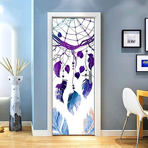 KEXIU 3D Atrapasueños de plumas azules y moradas PVC fotografía adhesivo vinilo puerta pegatina cocina baño decoración mural 77x200cm