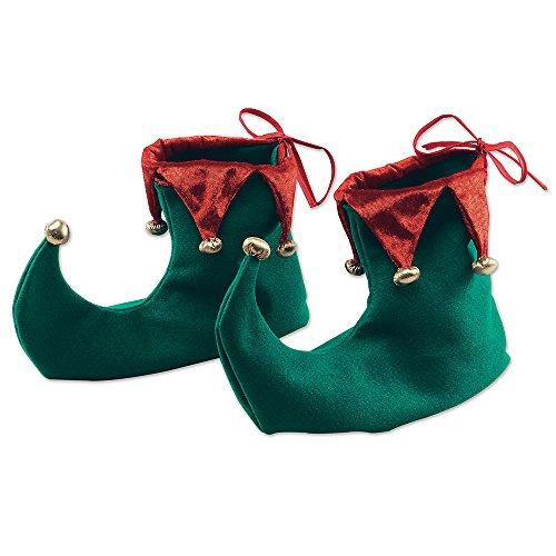 Bristol Novelty BA853Weihnachtself Schuhe mit Glocken, Grün/Rot