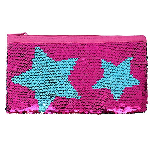 Cute Pencil Case for Girls Kids Mermaid Sequin Pencil Pouch Pen Holder Cosmetic Makeup Organizer Bag Purse for Women (Hot Pink)