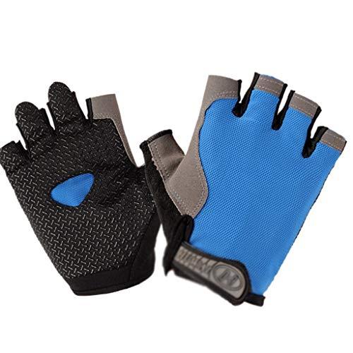GZKOZ rutschfeste Verschleißfeste Halbfingerhandschuh-Gymnastik Reck Hantel Sportfahrreiten Berg Pull-ups (Color : Blue, Size : XL)