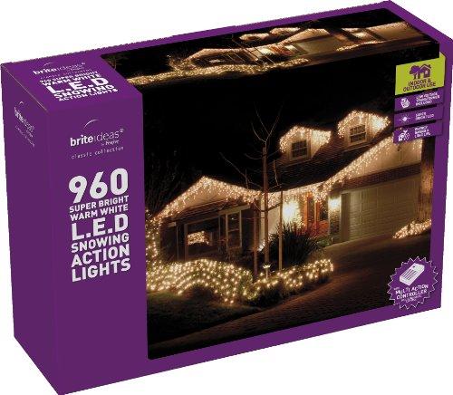 Festive-960 luci a LED a forma di ghiacciolo di neve, colore: bianco caldo