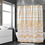 Mustard Yellow Tassel Shower Curtain Set (72 x 72 inches) with Pom Pom Fringe Trim, 12 Hooks and Macrame Tie Back - Boho Chic Decor - Polyester Fabric Shower Curtain