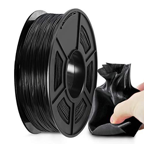 3D Printer TPU Filament 1.75, SUNLU Black TPU Flexible Filament 1.75mm, Fit FDM 3D Printer, 0.5KG Spool, Dimensional Accuracy +/- 0.02 mm, TPU Black