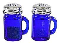 HOME-X レトロジャー コバルトブルーガラス 塩コショウ入れ 蓋とハンドル付き オールドファッション装飾 正方形 長さ2 5/8インチ x 幅2インチ