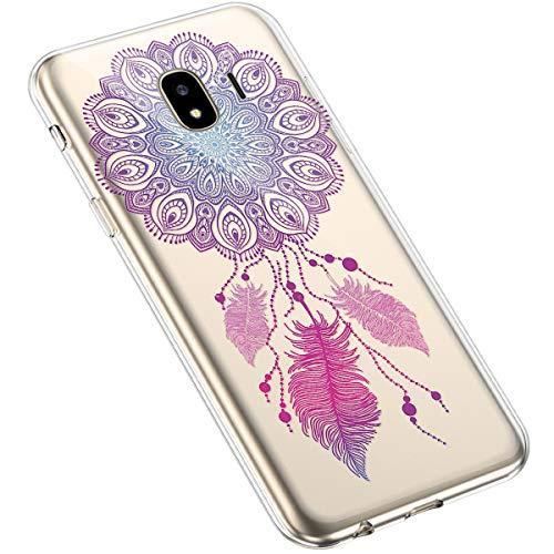 Uposao Kompatibel mit Samsung Galaxy J4 2018 Hülle Silikon Transparent Durchsichtig Handyhülle Mandala Henna Blumen Traumfänger Muster Motiv Crystal Clear Case Schutzhülle Dünn Slim Tasche,#11