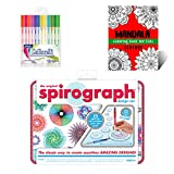 Mini Spirograph Design Tin Set Creativity Kit for Kids – Includes Mini Spirograph Tin Set, Multicolored Gel Pens, And Mandala Coloring Book for Kids – Ideal Gift Set for Promoting Development in Kids