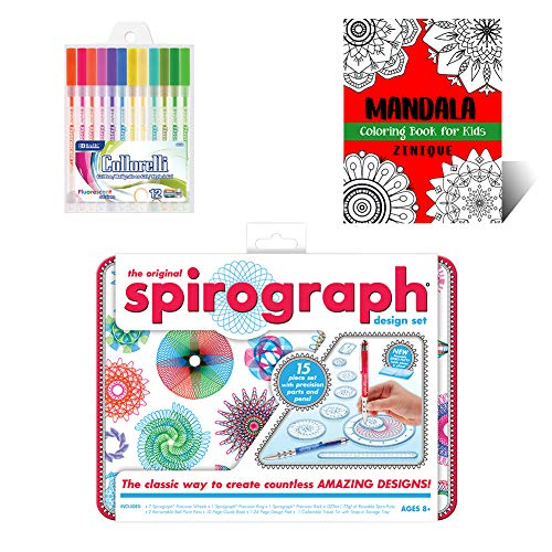 Mini Spirograph Design Tin Set Creativity Kit for Kids – Includes Mini Spirograph Tin Set, Multicolored Gel Pens, And Mandala Coloring Book for Kids – Ideal Gift Set for Promoting Development in Kids