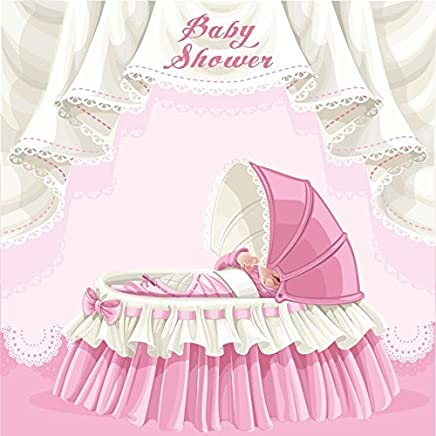Leowefowa Baby Shower Pink Baby Carriage Pastel Backdrop 6x6ft Vinyl Photography Backgroud Pink and White Lace