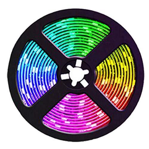 MLXG - Tiras luminosas (4 unidades, 5 m, RGB, led, cambiante, música, sincronización de color, para decoración de casa, fiesta, tiras luminosas con control de control)