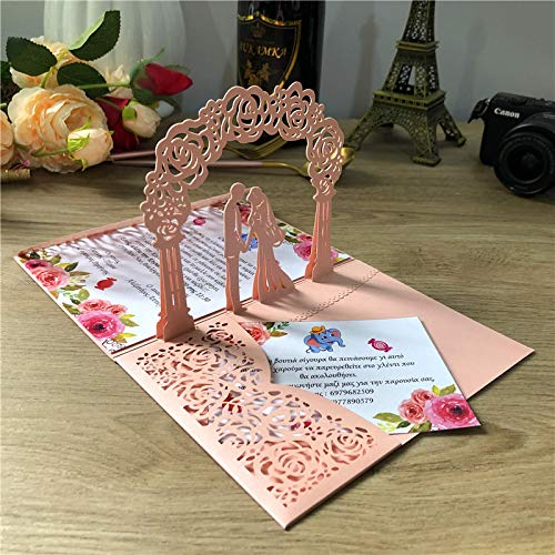 1x 3DPop-up Card Gold Grey Three3Folding Pocket Wedding Invitation Card Laser Cut Invitation Card with EnvelopeBlankset A2pearlpink