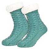 Tobeni 1 Paar Damen Hüttensocken ABS Socken Kuschelsocken mit Anti-Rutsch Noppen Sohle Farbe Mint-Grün Grösse One Size