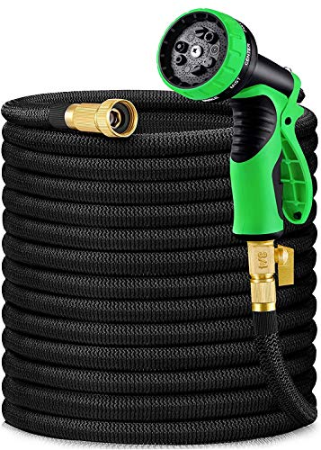 """HBlife 50ft Garden Hose, All New 2021 Expandable Water Hose with 3/4"""" Solid Brass Fittings, Extra Strength Fabric - Flexible Expanding Hose with Free Water Spray Nozzle"""