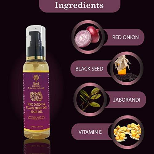 Khadi Essentials Ayurvedic Red Onion & Black Seed Hair Nourishment Oil 120ml with Advanced Red Onion Black Seed Oil & Jaborandi for Hair Fall Control Hair Mask 100gm
