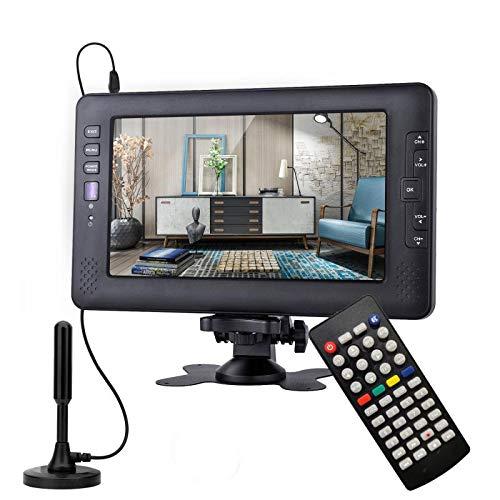 SOYAR (22,86 cm) TV digitale DVB-T2 da 9 pollici, TV portatile a batteria ricaricabile, USB, ingresso jack per cuffie, telecomando, ingresso AV., DC12V, colore nero