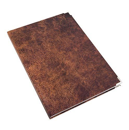 Logbuch-Verlag XXL Notizbuch DIN A4 braun Hardcover in Lederoptik bedruckt Vintage Nostalgie mit silber Metallecken - Tagebuch Blanko Buch DIY