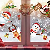 SINGARE 255PCS Christmas Window Clings, Christmas Window Stickers Holiday Window Decorations, Santa Claus Snowman Reindeer Snowflake Window Decals Clings for Glass Window Door, 10Sheets