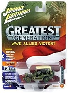 Johnny Lightning 1: 64 The Greatest Generation: WWII Allied Victory - Willys MB Jeep with Beige Soft Top (Dirty Version) Diecast Vehicles