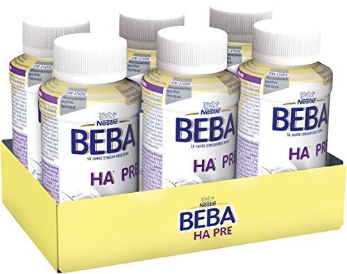 Nestlé BEBA PRO HA PRE Hypoallergene Säuglings-Anfangsnahrung, trinkfertig von Geburt an, 6x200 ml, 12439329