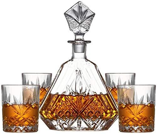 GJX Juego de Jarras y Vasos de Whisky 5 Pieza Única Estilo Premium sin Plomo de Cristal de Whisky la Jarra de Vidrio y Fijar con Biselado, Ranuras tapón, excelente Regalo for Cualquier ocasión