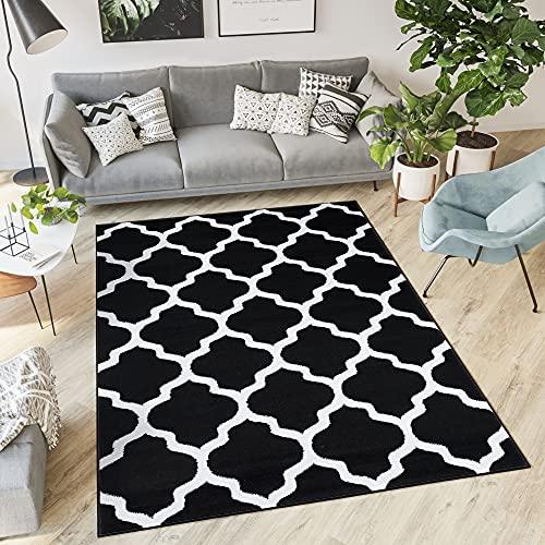 TAPISO Collection Luxury Tapis de Salon Chambre Moderne Couleur Noir Blanc Motif Géométrique Facile d