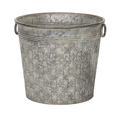Annibells Large Round Vintage Grey Patterned Galvanised Metal Bucket Flower...