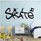 Skate Sports Skateboard Pareja Dormitorio Vinilo Pegatinas De Pared Papel Pintado Extraíble Arte De La Pared Calcomanía Sala De Estar Decoración Del Hogar Mural 59X24Cm