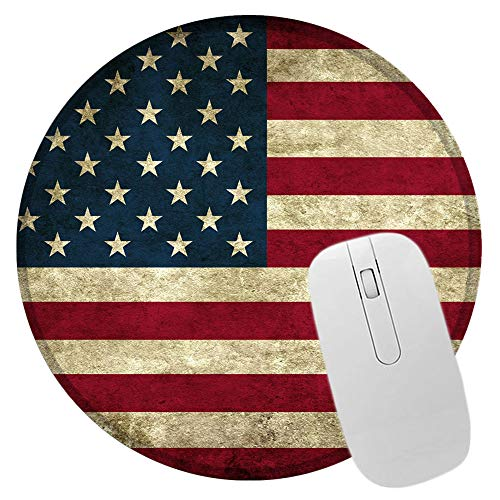 Round Mouse Pad US American Flag Mousepad Custom Circular Gaming Mouse Pads Small Size Non-Slip Rubber Base Mouse Mats for Home and Office