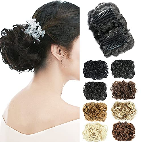 NOTICEME Short Messy Curly Dish Hair Bun Extension Easy Stretch hair Combs Clip in Ponytail Extension Scrunchie Chignon Tray Ponytail Hairpieces(1B)