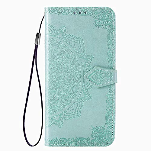 Fertuo Hülle für Samsung Galaxy M30S / M21, Handyhülle Leder Flip Hülle Tasche mit Kartenfach, Magnet & Standfunktion [Mandala Blume Muster] Handy Schutzhülle Ledertasche für Galaxy M30S, Grün